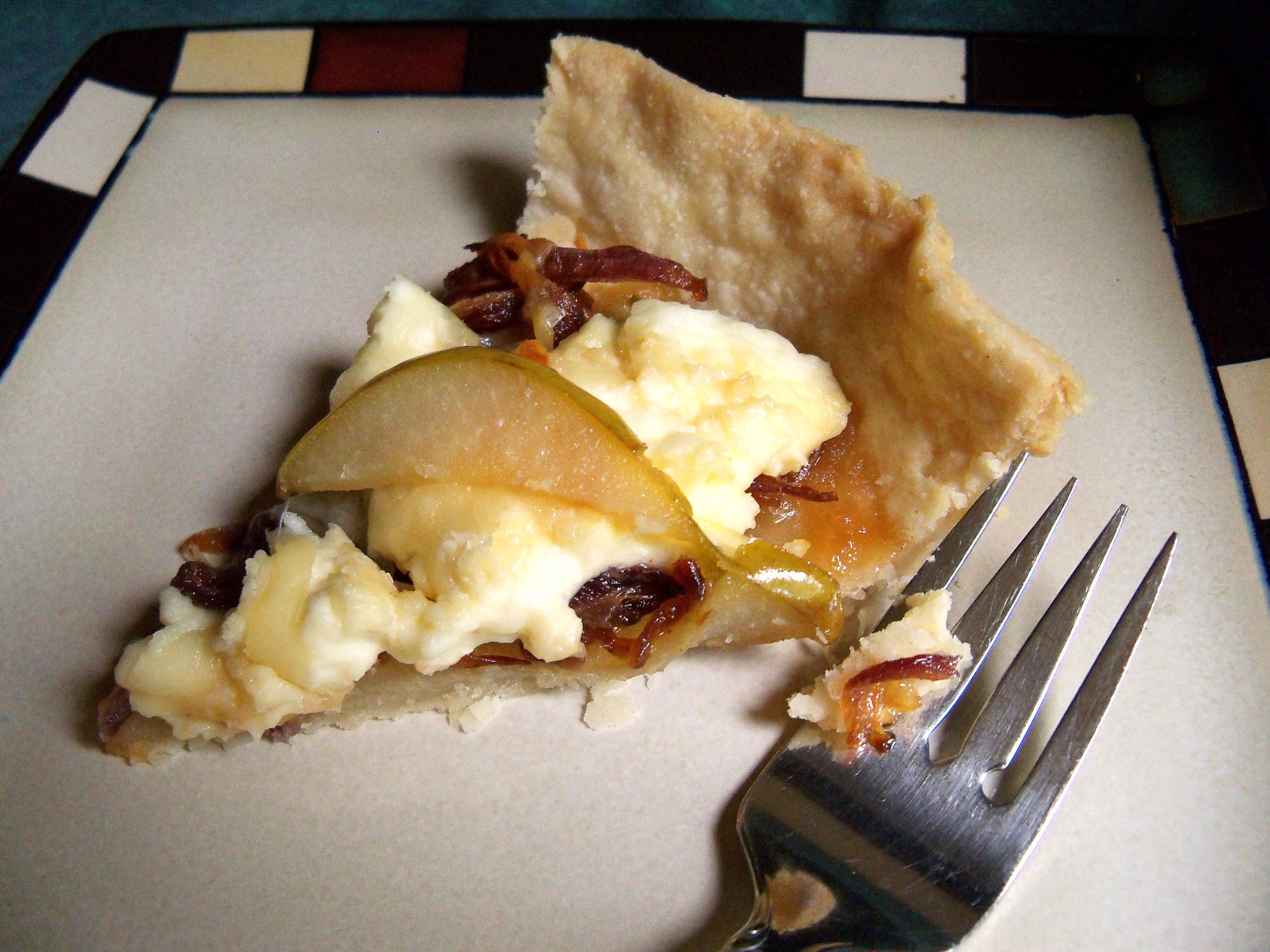 ... pear bacon and goat cheese tart was a wonder to behold please pardon