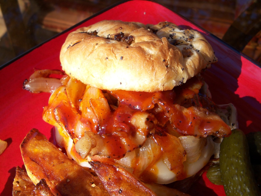 BBQ Pulled Pork Sandwich with Bacon, Onions, & Provolone (4/4)