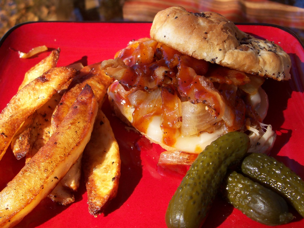 BBQ Pulled Pork Sandwich with Bacon, Onions, & Provolone (3/4)