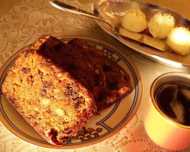 Fruit Cake with Nutmeg Honey Butter
