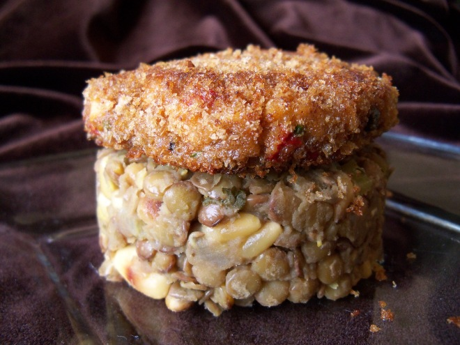 The Salmon Cake and Lentil Tower