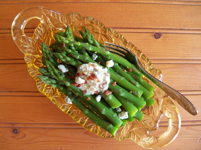 Asparagus with Bleu Cheese Bacon Compound Butter