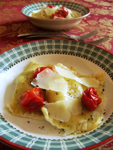 Ravioli with Roasted Cherry Tomatoes