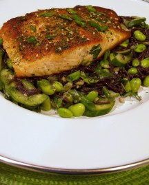 Debi's Salmon with Furikake Black Rice Noodles & Edamame ala Blue Apron