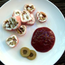 Kim's Smoked Ham Roll Ups with Goat Cheese, Jalapeno Olives, and Pear Preserves Hot Horseradish Sauce