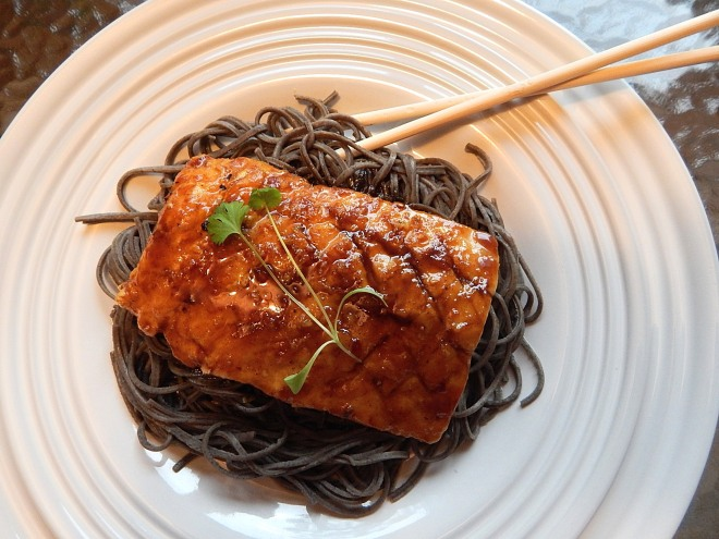 singaporean grilled glazed salmon