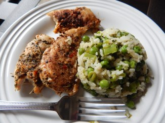 Spicy Chicken Tenders with Green Rice Pilaf