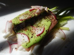 Salmon with Wasabi and Radishes