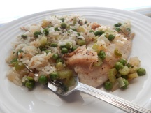 Fish with Green Veggie Pilaf
