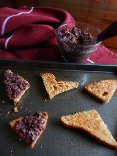 Tapenade on Toast Triangles
