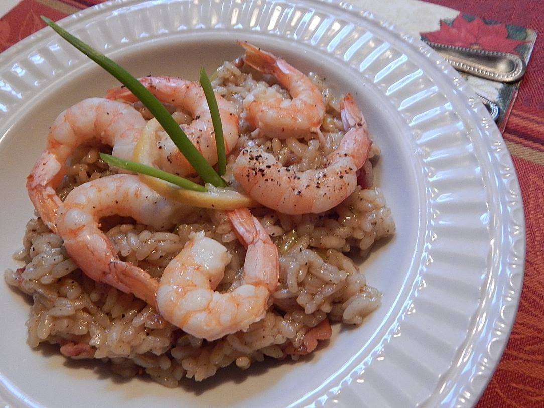 Armadillo Risotta with Oven Baked Shrimp Scampi