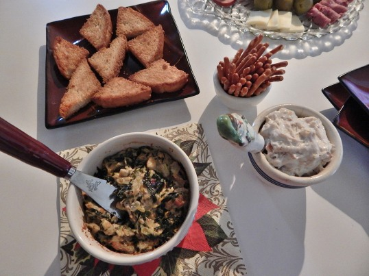 Artichoke heart/spinach dip on toast points and Honey Balsamic Goat Cheese Spread