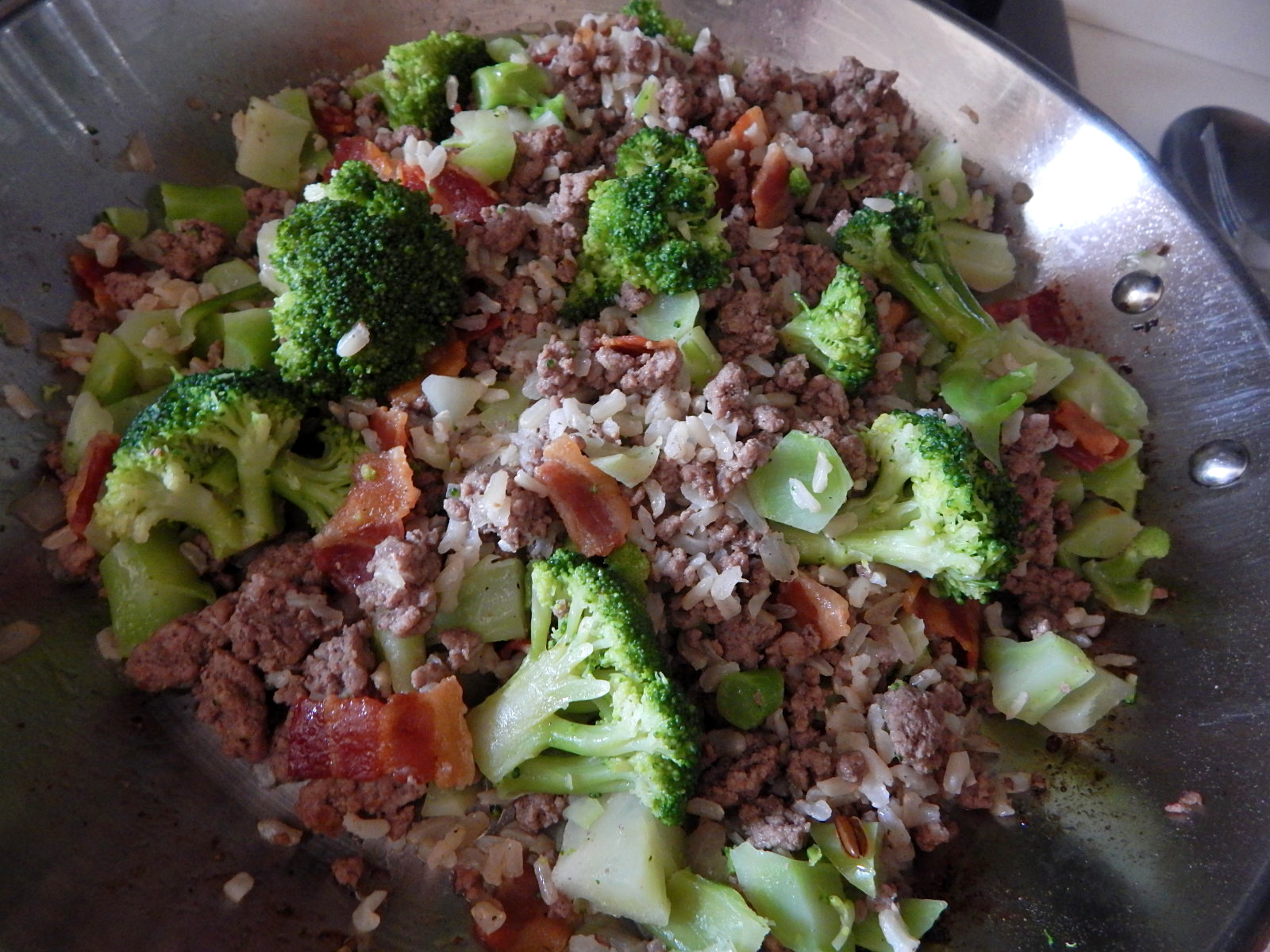 Bacon Broccoli Burger Brown Rice 2.JPG