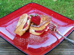 Strawberry stuffed French Toast on deck