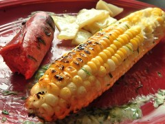 Grilled Sweet Corn -Hot Link-and-spuds